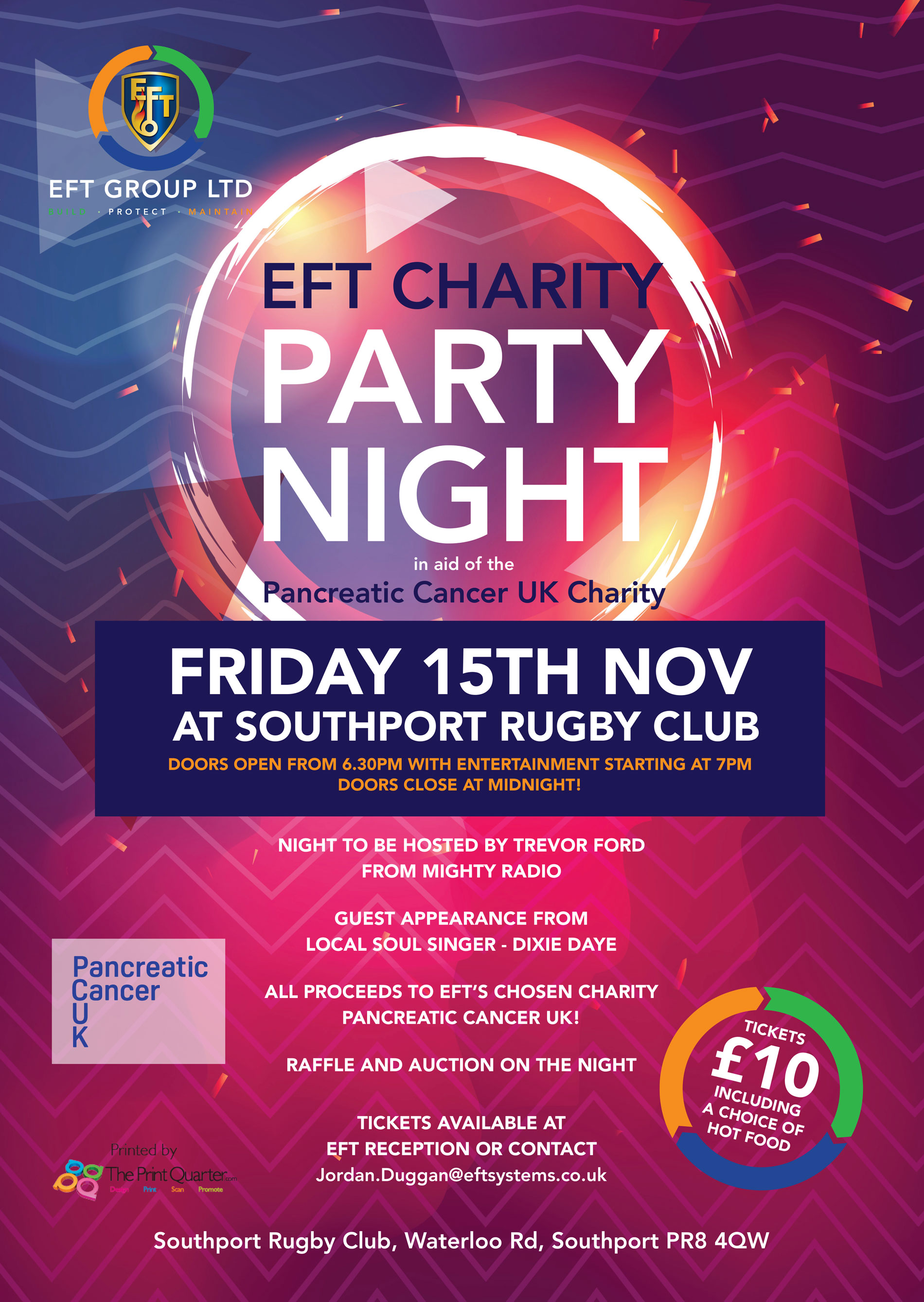 Only 3 Days To Go Until EFT Party Night – In Aid Of Pancreatic Cancer UK!