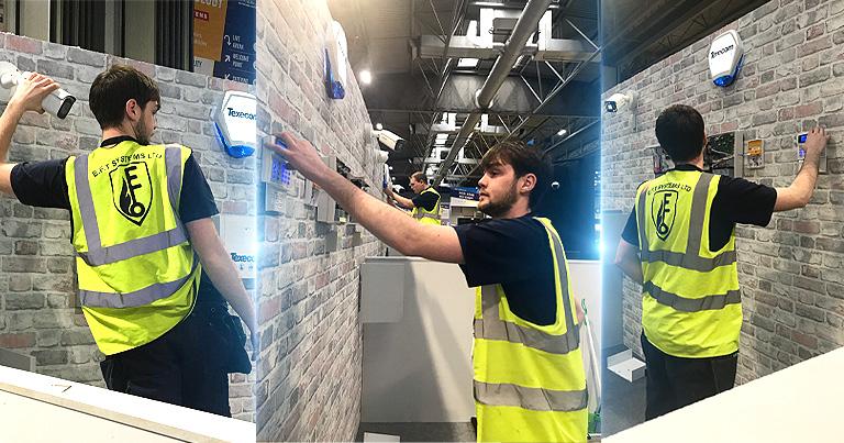 EFT's Sam and James Demonstrating #Texecom Intruder Alarm and #Hikvision CCTV installation At World Skills UK!