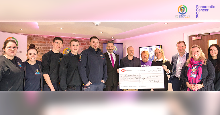 EFT Group Donate Cheque For £10,000 To Pancreatic Cancer UK Charity!